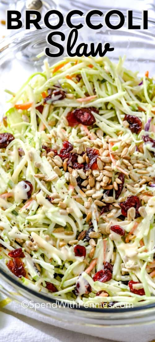 I love serving this broccoli slaw on top of pulled pork and my burgers for a fresh & crunchy twist. Made with an easy broccoli slaw mixture, apples, cranberries and sunflower seeds all tossed ina  creamy dressing it is the perfect summer salad.#spendwithpennies #broccolislaw #coleslawrecipe #salad #summersalad