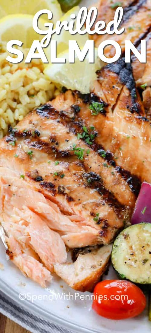 Grilled salmon on a plate with vegetables and rice with the title