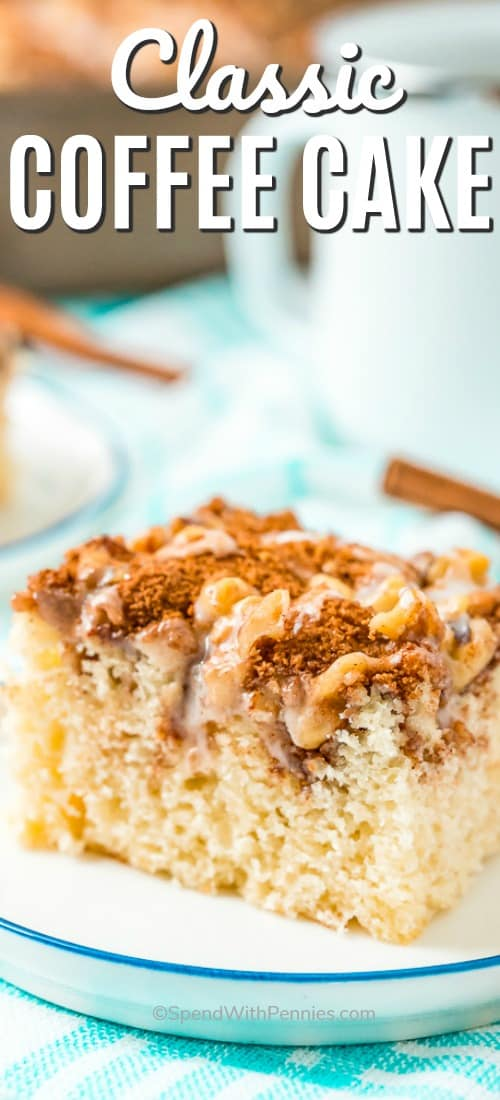 This classic coffee cake is a tender vanilla cake made with a cinnamon and pecan topping. It is perfect served as a breakfast dish or even as a snack! #spendwithpennies #coffeecake #dessert #breakfast #classiccoffeecakerecipe