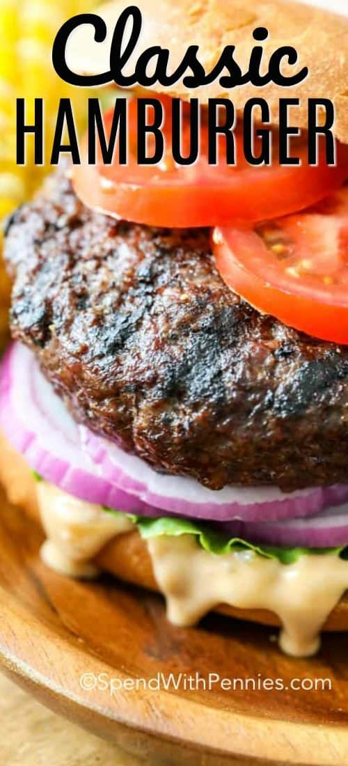 A hamburger on a bun with tomato, lettuce, red onion and sauce.