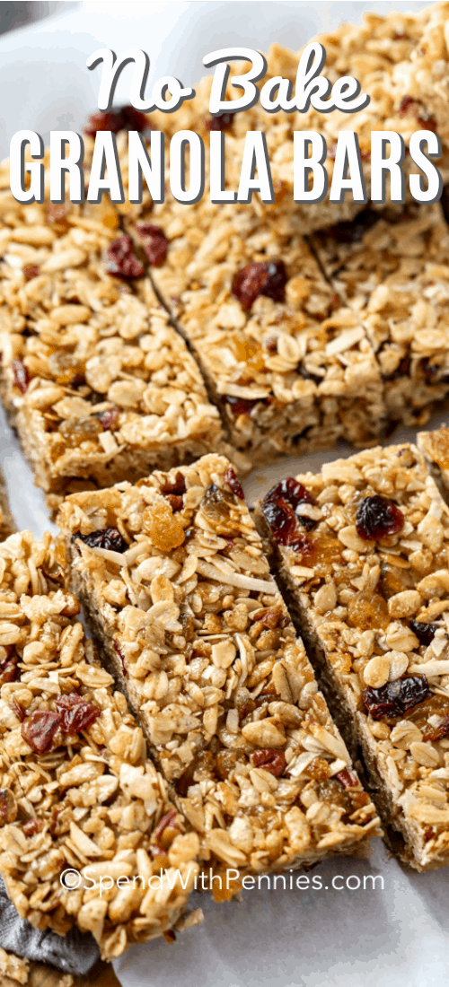 Easy chewy granola bars are my go-to snack and grab-and-go breakfast. Made with oats, Rice Krispies, coconut, honey and their favorite add-ins like dried fruit, chocolate or nuts. It's a homemade snack they are sure to love! #spendwithpennies #nobakegranolabars #10minutes #grabandgobreakfast #snack #kidfriendly