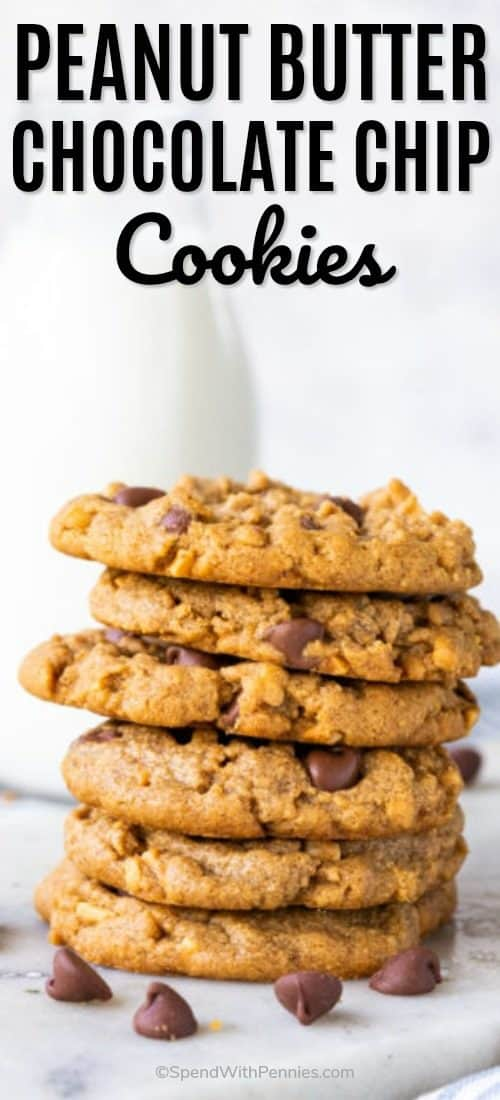 A stack of peanut butter cookies laced with chocolate chips.