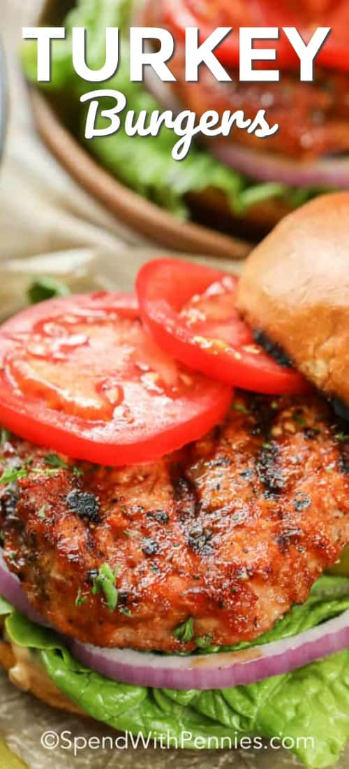 Turkey Burgers on buns with tomatoes and lettuce shown with a title
