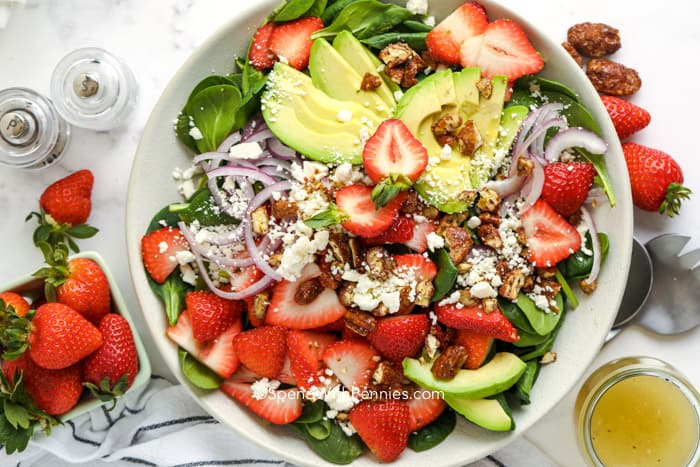 a bowl of strawberry salad