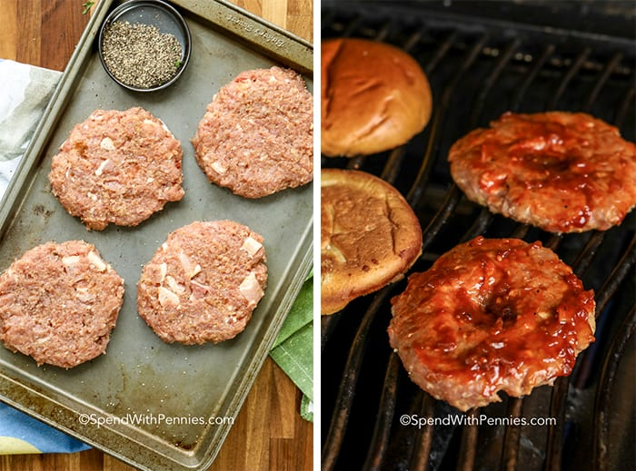 A pan of raw turkey burgers ready to grill and two turkey burgers on a grill