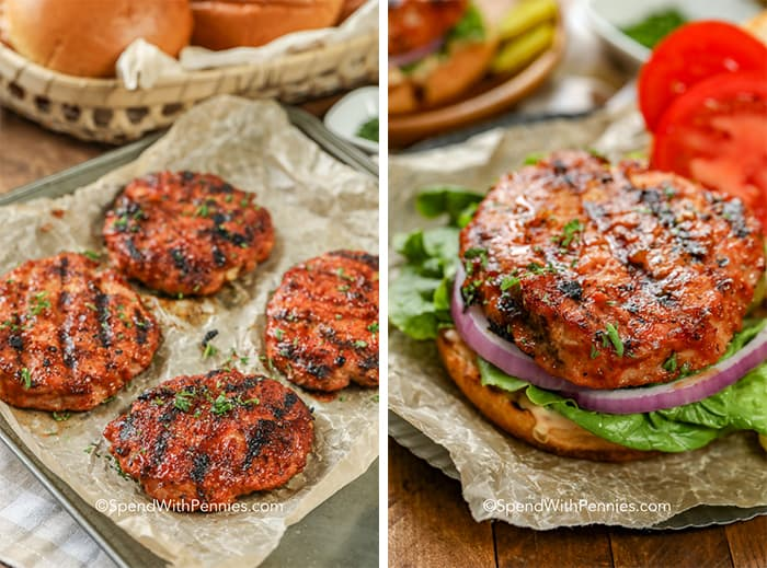 Grilled turkey burgers on a pan and a dressed turkey burger on a brioche bun.