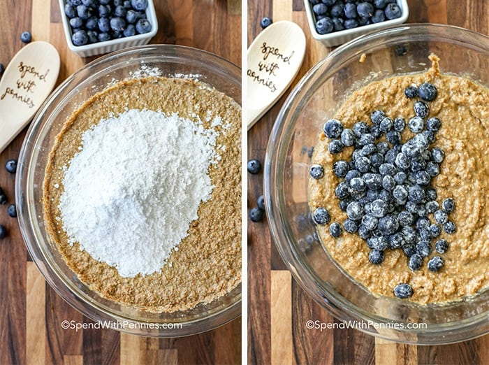 Steps for making blueberry bran muffins including a bowl of mix with flour and a bowl of mix with blueberries on top