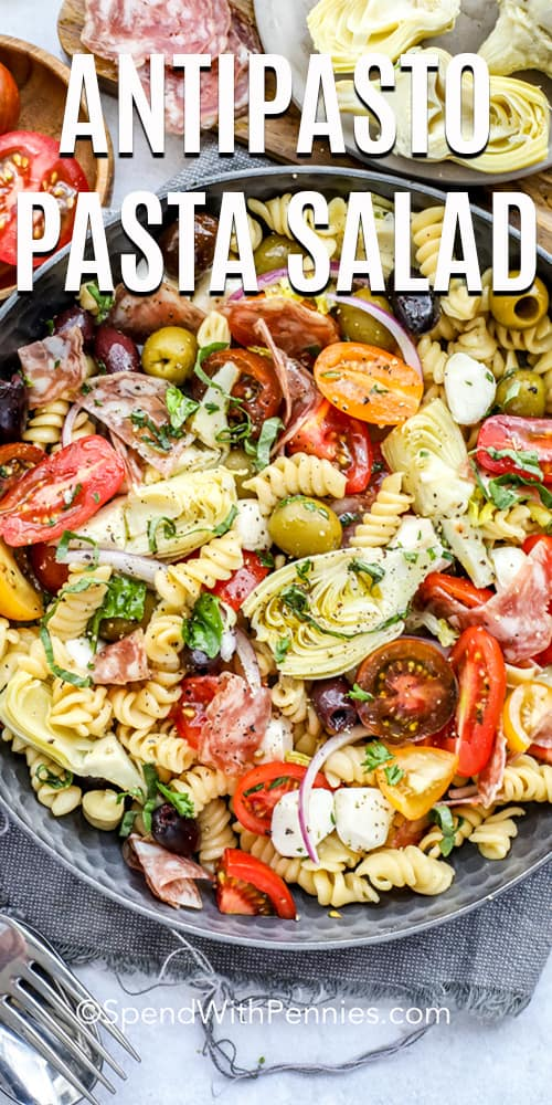overhead of Antipasto Pasta Salad in a serving bowl