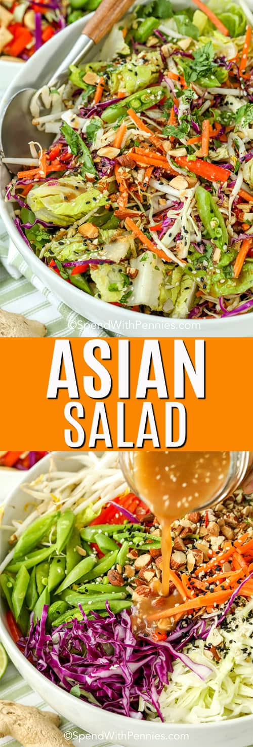 Top image - Asian chopped salad mixed in a bowl with salad spoons. bottom image - Asian chopped salad dressing being poured over the salad ingredients.