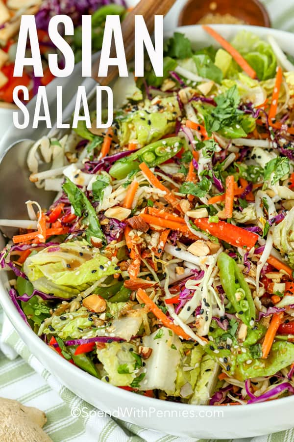 Asian chopped salad combined in a bowl.