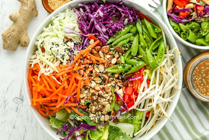 Overhead shot of Asian Salad in a bowl before mixing together