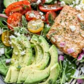 Avocado Salmon Salad with salmon, tomatoes, cucumbers and cheese
