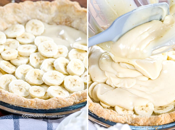 Two images showing the Banana Cream pie being layered.