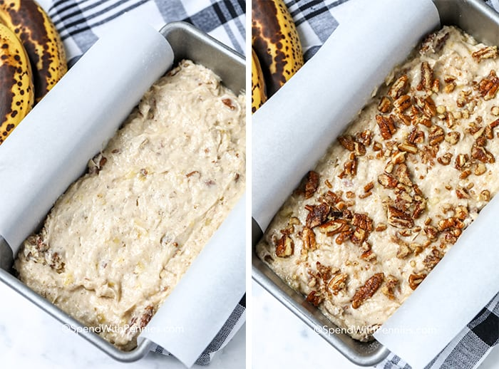 Banana nut bread sprinkled with pecans and prepared in a loaf pan lined with parchment paper.