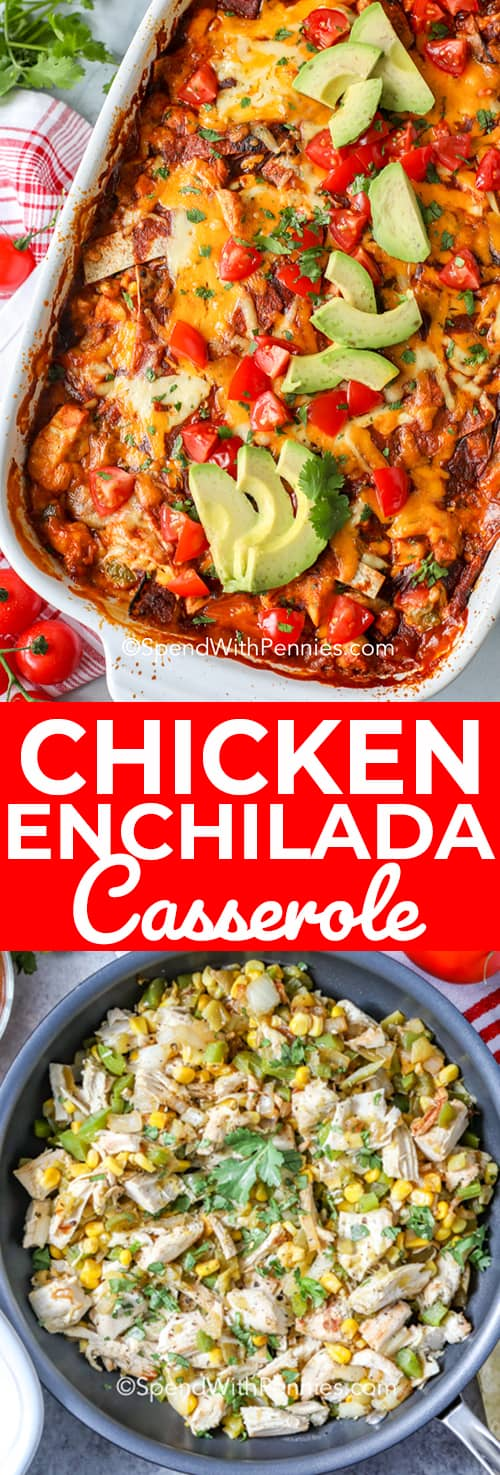 Chicken Enchilada Casserole overhead, and making filling in a skillet