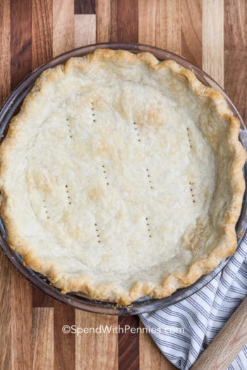 overhead of baked pie crust