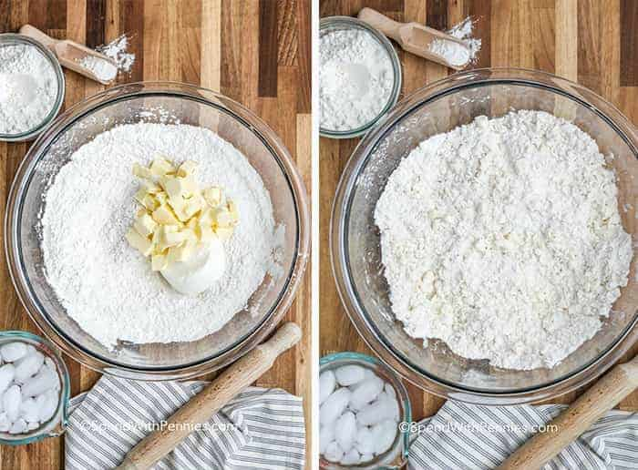 two images showing ingredients for the homemade pie crust, and bowl of the flour mixed with the butter