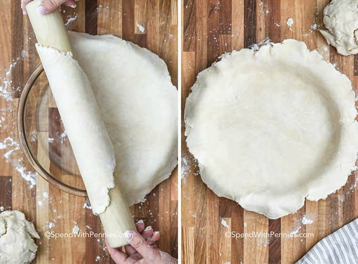two images, rolling the pie crust over top of the pie dish, and in the pie pan