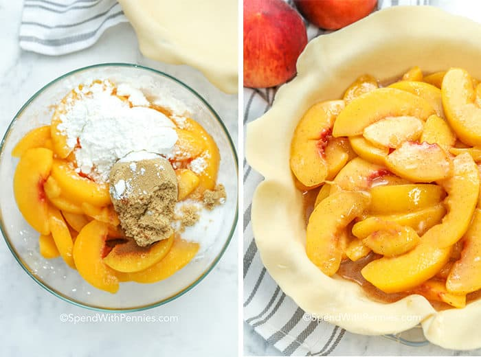 Two images showing peach pie ingredients in a bowl and mixed in a pie crust.