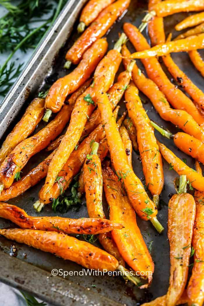 Honey Roasted Carrots on a baking sheet