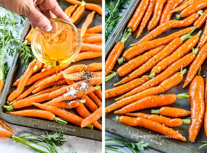 Two images showing carrots being drizzles with honey and then tossed with spices.