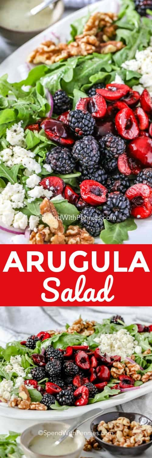 This simple arugula salad is made with baby arugula, strawberries, toasted pecans, and feta, all tossed in a simple vinaigrette dressing. Have this easy summer salad on the table in 10 minutes, with it's light and refreshing flavors it is sure to become a family flavor!#spendwithpennies #arugulasalad #summersalad #sidedish #10minutesalad