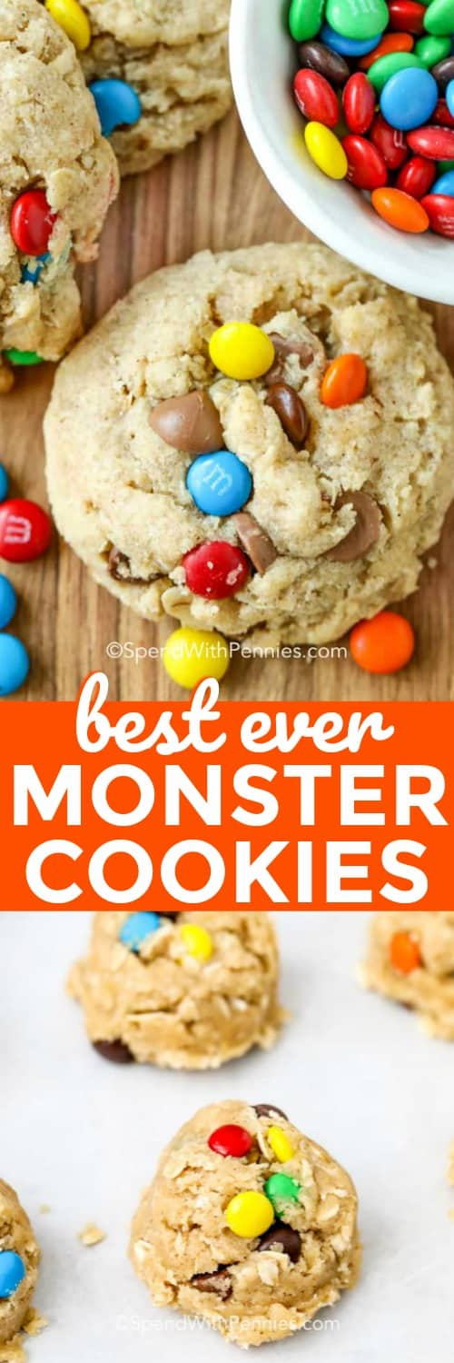 This easy monster cookie recipe is made with oatmeal, peanut butter, and your choice of mix-ins. My family loves making them with nuts, chocolate chips, and even dried fruit! They are soft, chewy, and simply the best! #spendwithpennies #monstercookies #dessert #cookierecipe #kidfriendly