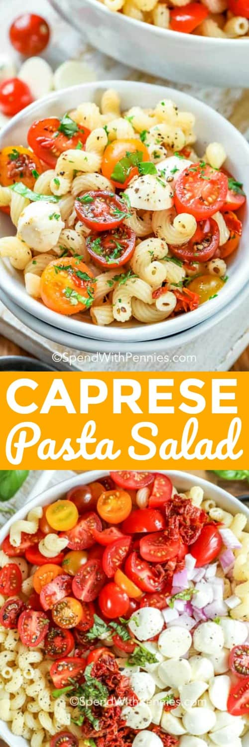 This easy caprese pasta salad is filled with grape tomatoes, fresh basil, and mozzarella. It is best served cold topped with balsamic glaze after marinating in an olive oil dressing! This recipe is quick to prepare and is always one of the first gone at picnics or potlucks! #spendwithpennies #capresepastasalad #pastasaladrecipe #sidedish #summer