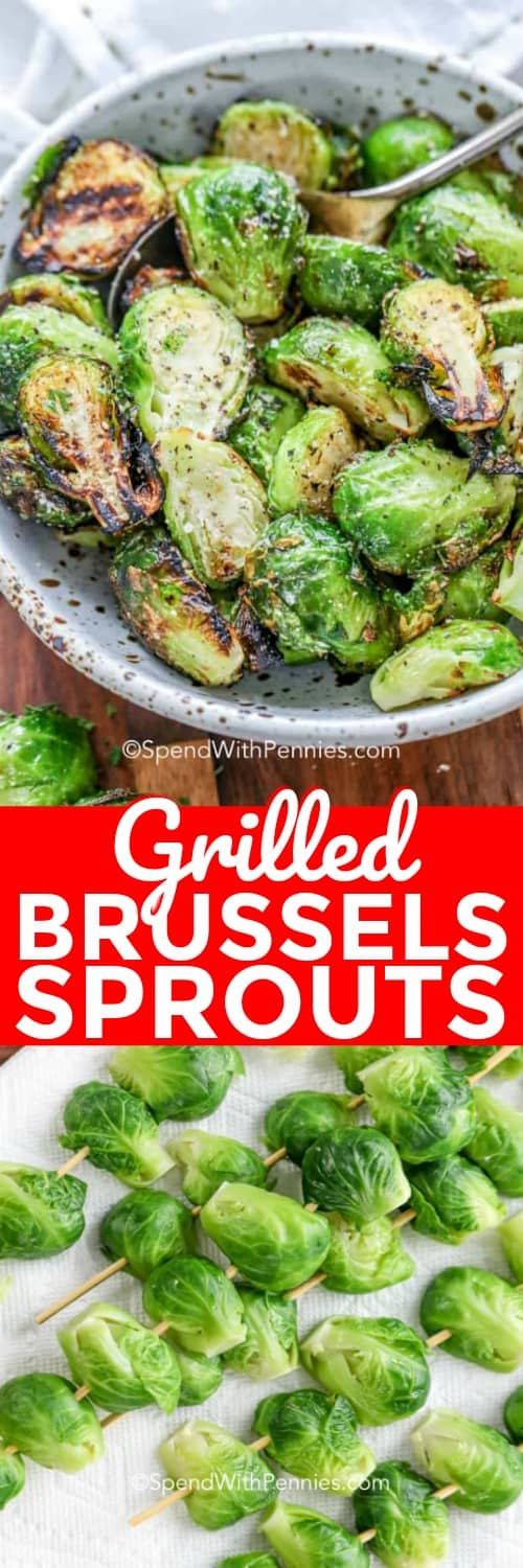 a bowl of Grilled Brussels Sprouts, sprouts on skewers before grilling