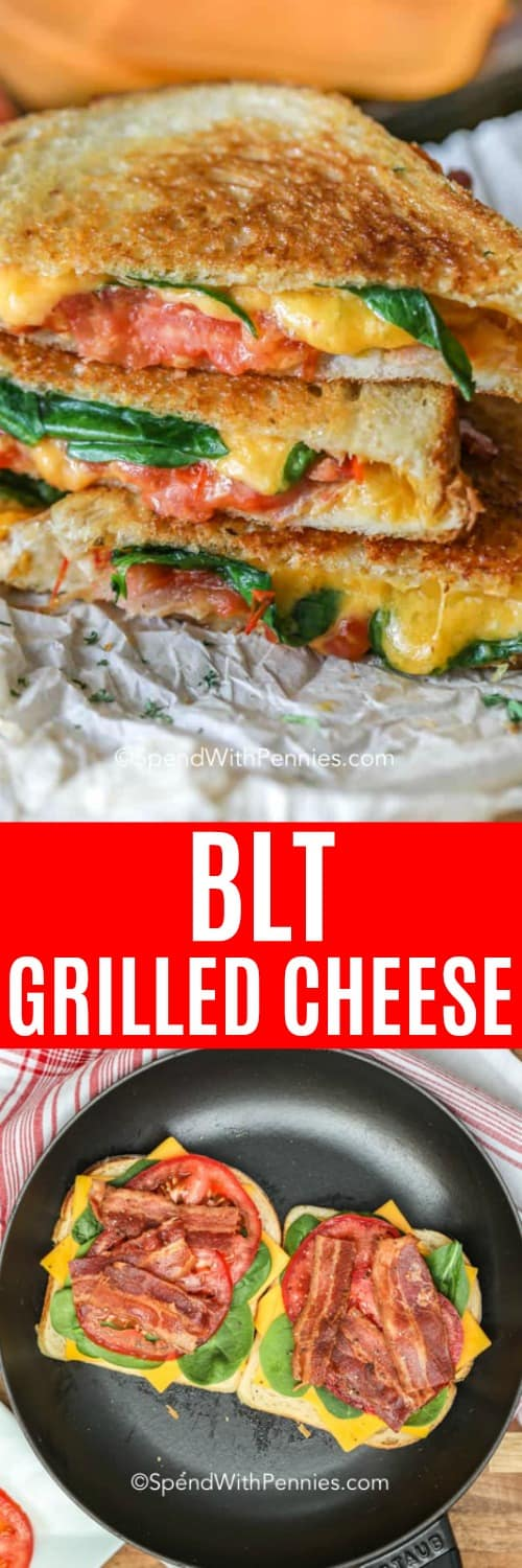 BLT Grilled Cheese, and making a sandwich in a skillet
