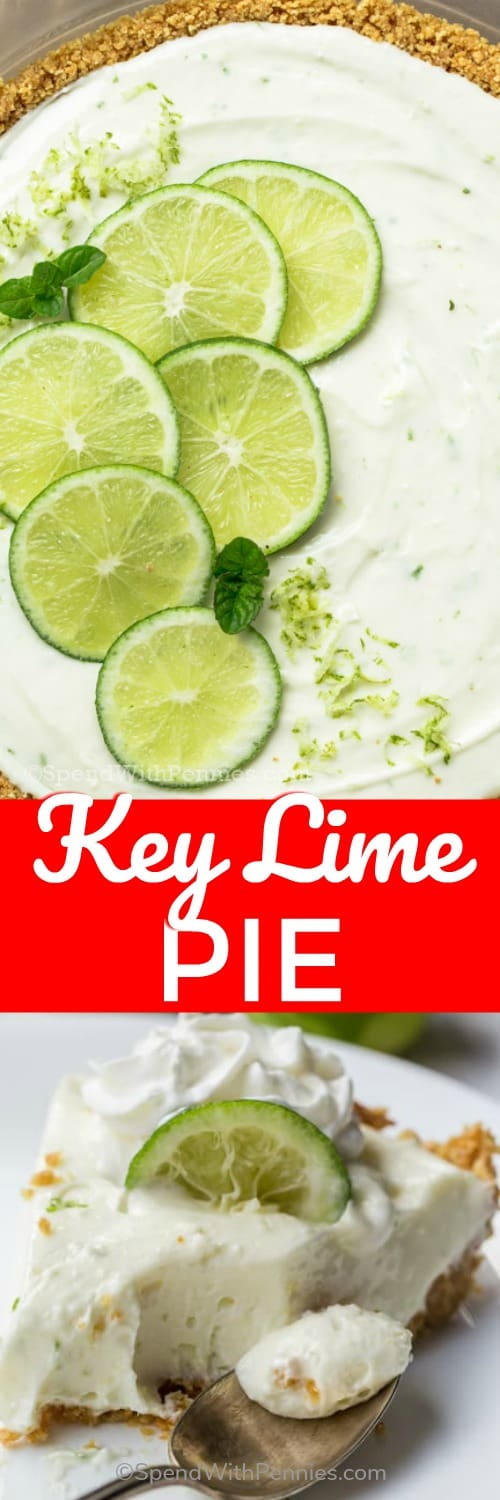 This easy Key Lime Pie Recipe is made from only 5 ingredients and is a no bake dessert. The graham cracker crust combined with the sweet lime cheesecake pie filling are sure to become a hit! #spendwithpennies #keylimepie #nobake #dessert #classicrecipe