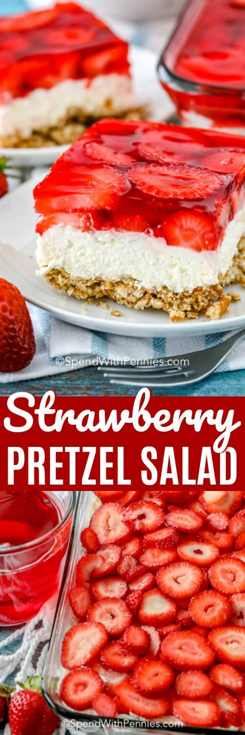 Strawberry Pretzel Salad slice, prepping Strawberry Pretzel Salad in a pan