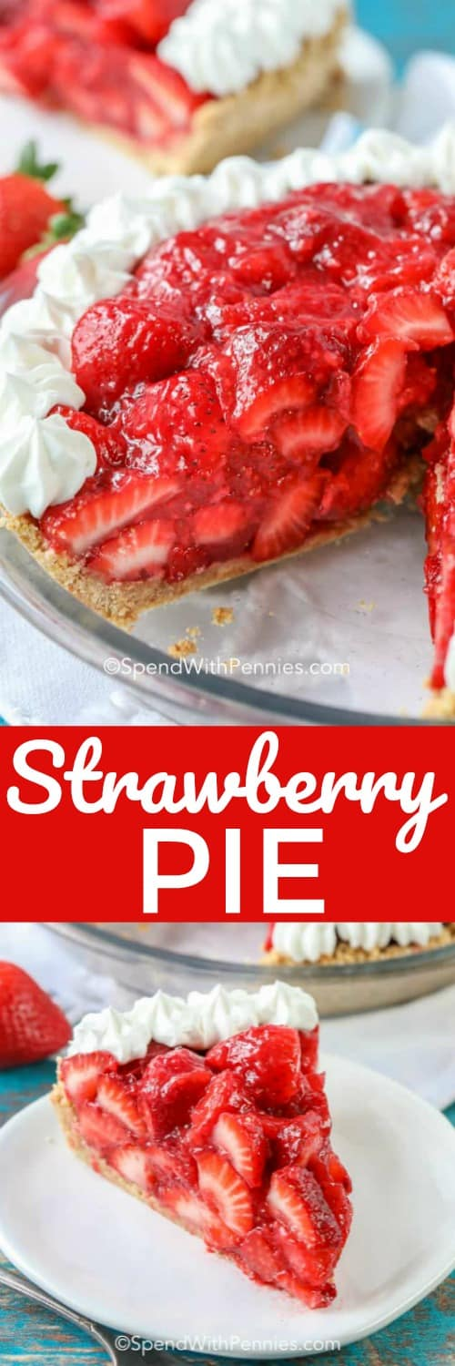 No Bake Strawberry Pie Fresh Or Frozen Berries Spend With Pennies
