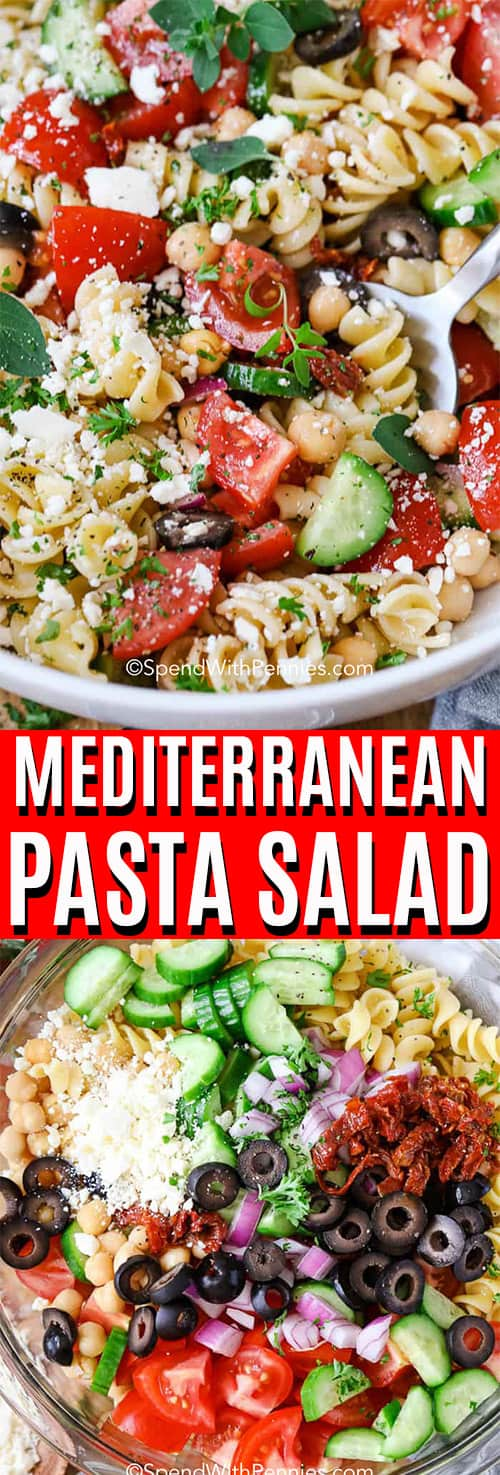 Mediterranean Pasta Salad in a white bowl with a serving spoon, ingredients for pasta salad