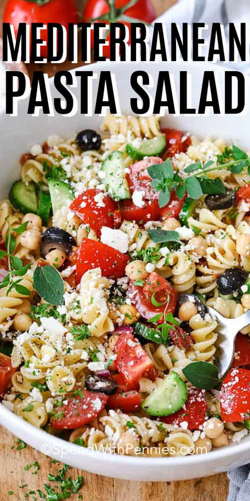 Mediterranean Pasta Salad in a white bowl.