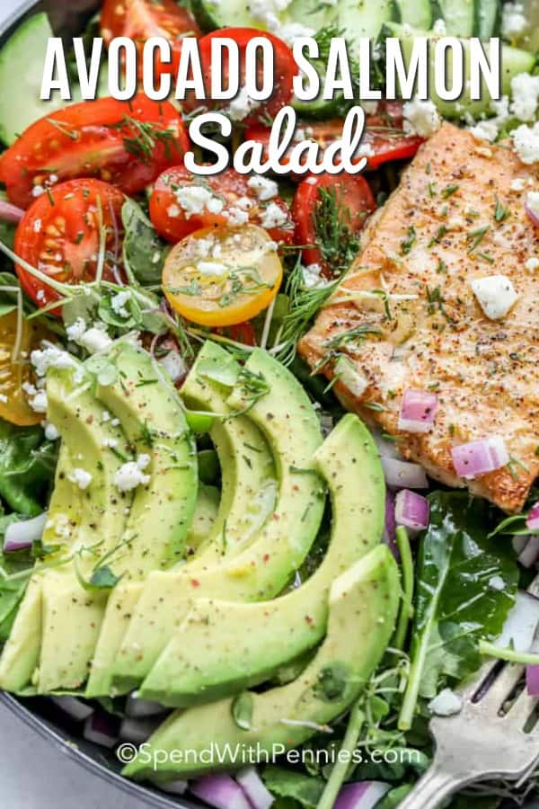 Salmon avocado salad is the perfect way to use up leftover grilled or baked salmon. This salad is also the perfect summer recipe. Packed with avocados, salmon and mixed greens, tossed in a light lemony dressing and served alfresco! #spendwithpennies #avocadosalmonsalad #salmonsalad #seafoodrecipe #healthy