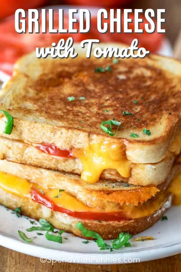Grilled cheese sandwiches are great whether served for lunch, dinner or just a snack! This grilled cheese with tomato takes comfort food one step further. It's an easy recipe combining your favorite bread with 2 types of cheese and tomatoes and grilling until golden brown! #spendwithpennies #grilledcheesewithtomato #grilledcheese #sandwich #comfortfood #kidfriendly