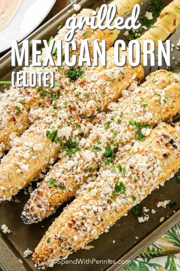 Grilled Mexican Corn on a baking tray