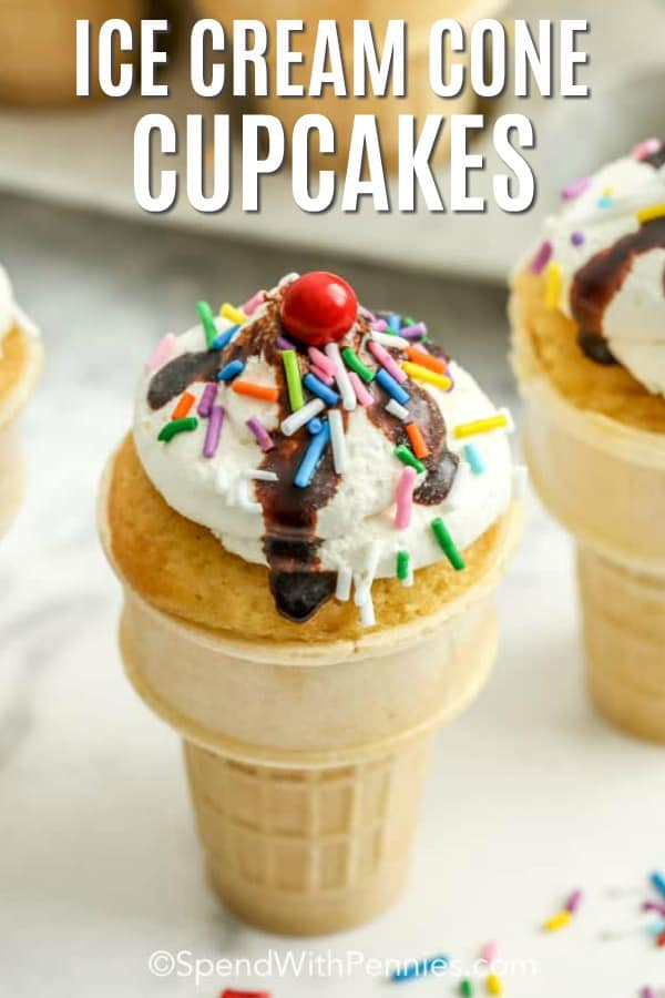 One Ice Cream Cone Cupcake decorated with sprinkles.