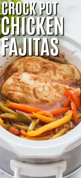 Cooked Chicken fajitas in a slow cooker shown with a title