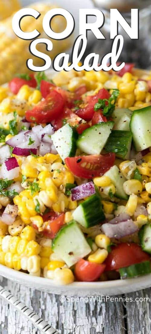 Fresh Corn Salad in a white bowl