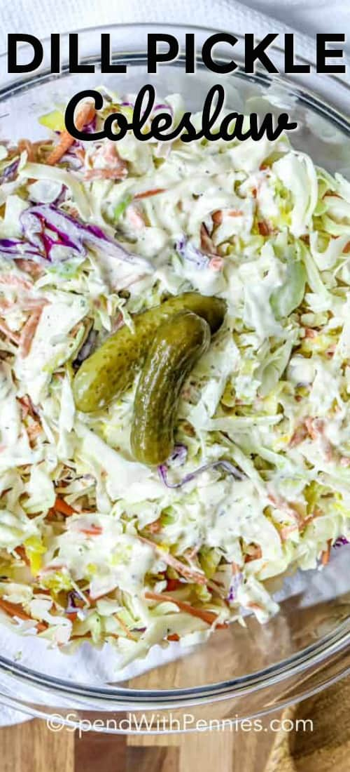 This is the best coleslaw recipe - made with classic ingredients and shredded pickles! The creamy homemade dressing is given an upgrade as well with fresh dill and dill pickle juice. My family can't get enough of this dill pickle coleslaw recipe, especially when served with pulled pork sandwiches! #spendwithpennies #dillpicklecoleslaw #coleslawrecipe #sidedish #salad