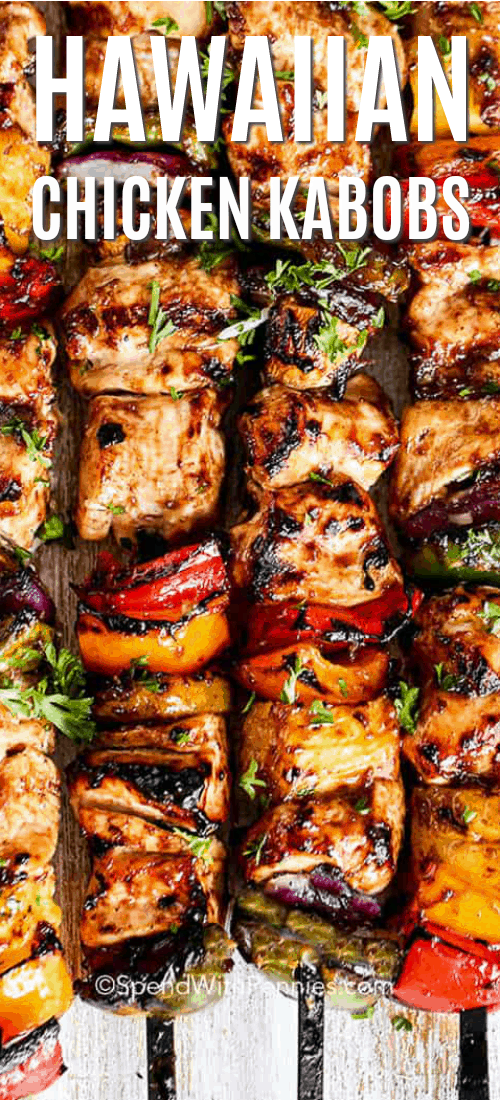 Hawaiian Chicken Kabobs close-up