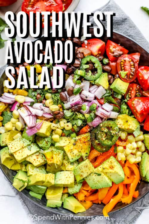 A bowl of southwest avocado salad.