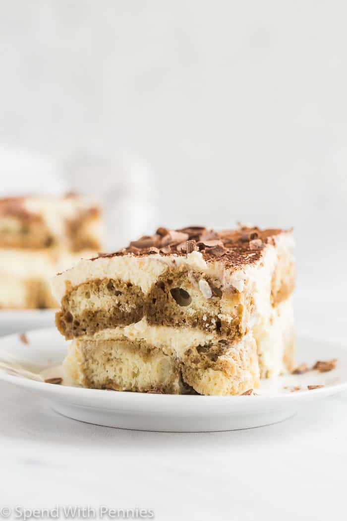 slice of tiramisu on plate