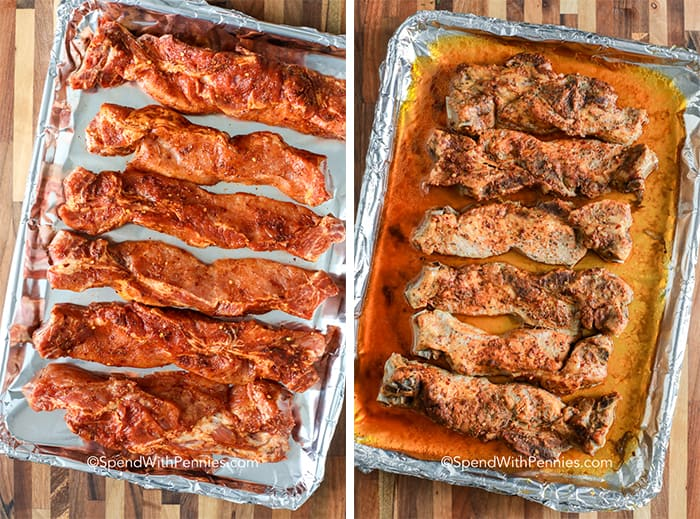 Two images showing ribs seasoned before and after being cooked.