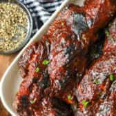 Country Style Ribs with sauce in a white dish