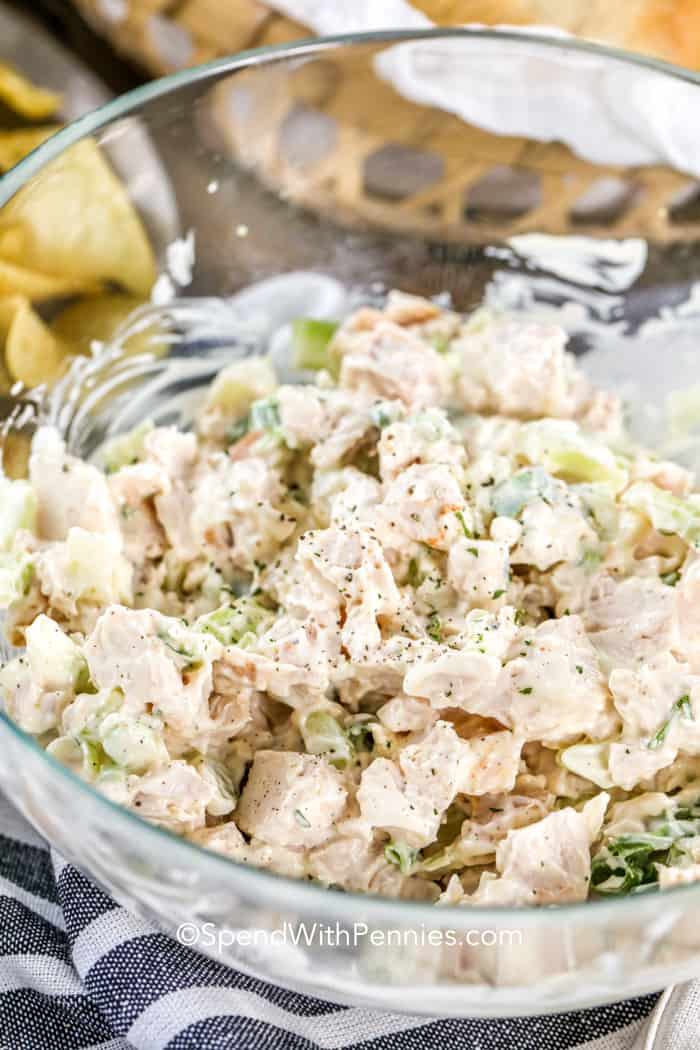 Bacon Ranch Chicken Salad in a glass mixing bowl