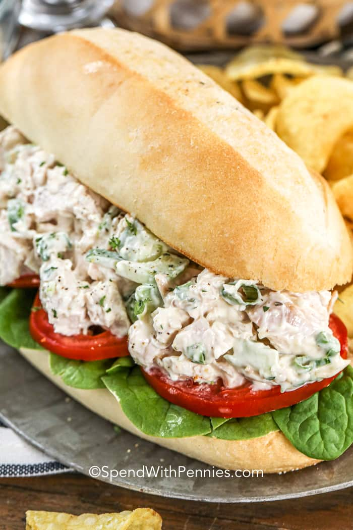 A bacon ranch chicken salad sandwich with spinach and tomatoes.