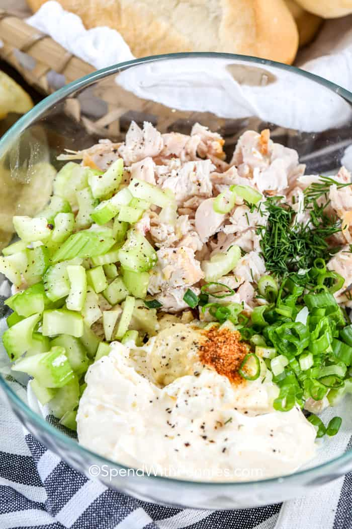 Bacon Ranch Chicken Salad ingredients in a bowl before mixing together